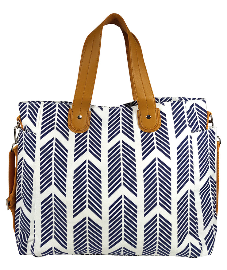 Front view of the Navy Blue Arrows Weekender Tote Bag