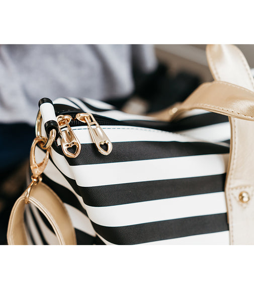 white elm duffel tote bag laurel stripes striped black white gold vegan leather heart zippers