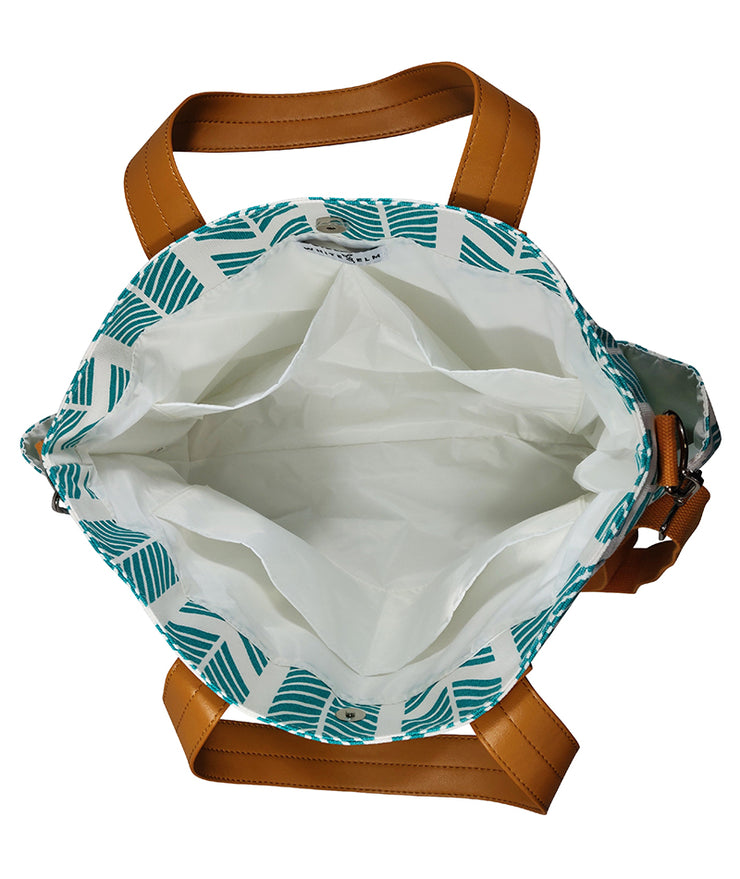 Open view from above of the Teal Arrows Weekender Tote Bag