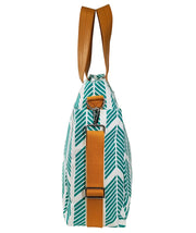 Side view of the Teal Arrows Weekender Tote Bag