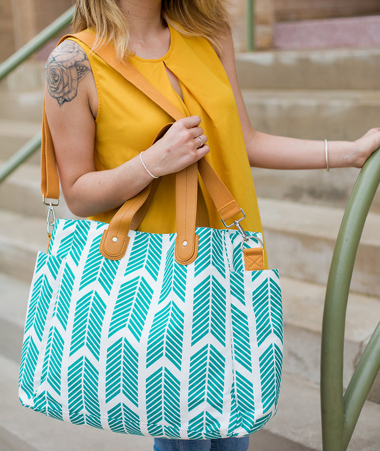 Teal Arrows Weekender Tote Bag