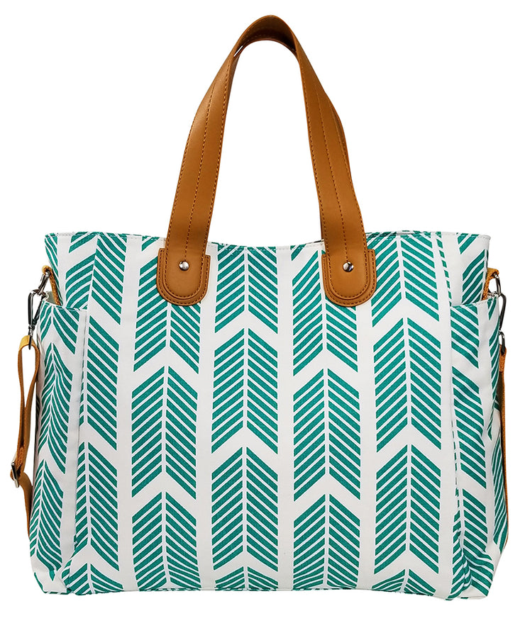 Front view of the Teal Arrows Weekender Tote Bag