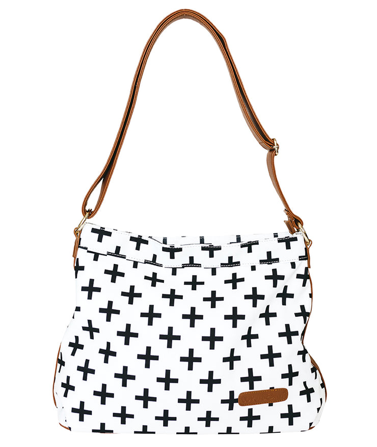 Front view of the Crosses Hobo Crossbody Bag in white