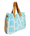 Aqua Blue Arrows Weekender Tote Bag - White Elm diaper bag canvas and vegan leather crossbody travel tote teacher bag side view