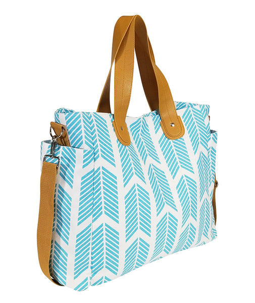 white elm aqua sky blue arrows weekender tote bag side view teacher bag diaper tote