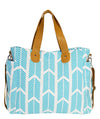 Aqua Blue Arrows Weekender Tote Bag - White Elm diaper bag canvas and vegan leather crossbody travel tote teacher bag front view