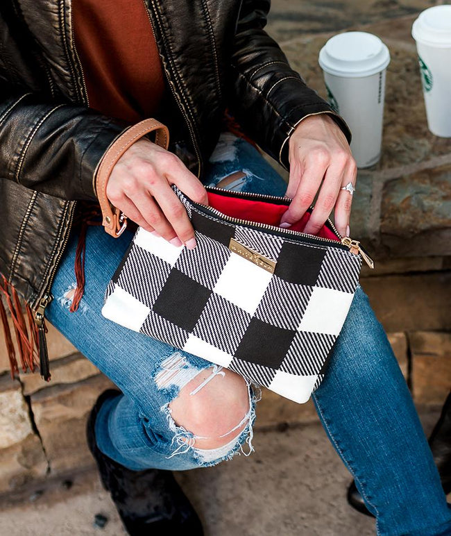white elm aquila black buffalo check clutch wristle makeup bag diaper clutch gingham plaid red interior waterproof vegan leather and canvas winter collection 2018