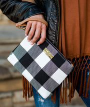 Aquila Clutch Bag - Buffalo Check Gingham Plaid - White Elm - water resistant lining small handbag