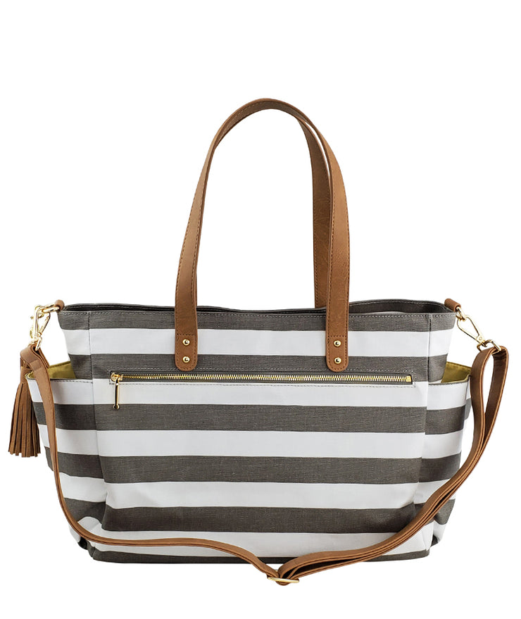 white elm aquila tote bag in gray stripes water resistant canvas back zipper pocket