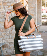 white elm aquila tote bag in gray stripes water resistant canvas with crossbody strap