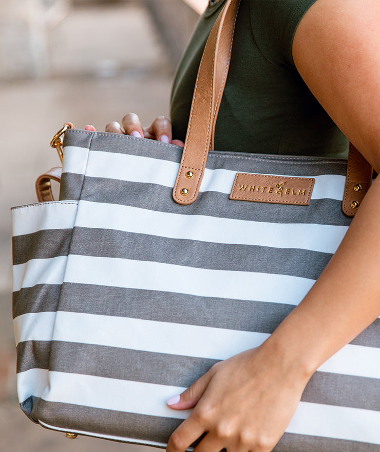 white elm aquila tote bag in gray stripes water resistant canvas closeup detail