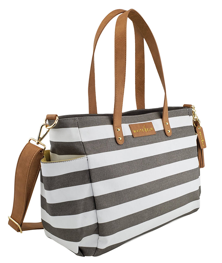 white elm aquila tote bag in gray stripes water resistant canvas side pocket