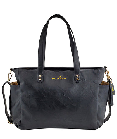 Aquila Tote Bag - Textured Black Vegan Leather