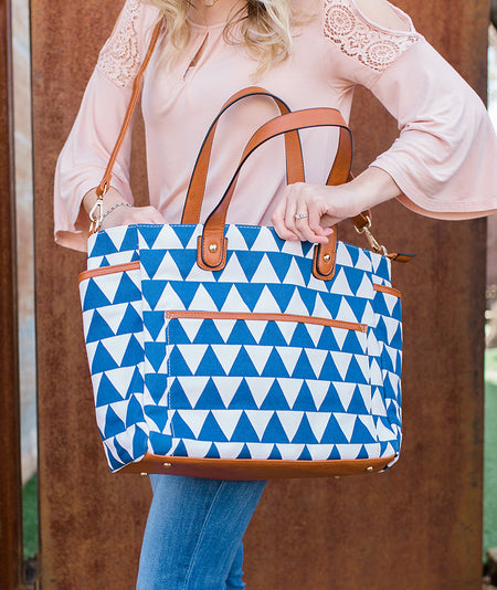 Aqua Blue Arrows Weekender Tote Bag