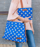 white elm blue gold crossbody hobo bag clutch canvas vegan leather modeled