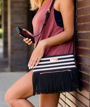 vegan leather and suede fringe crossbody bag by white elm