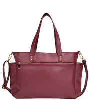 Back view of the Aquila Tote Bag In Burgundy Vegan Leather