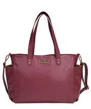 Front view of the Aquila Tote Bag In Burgundy Vegan Leather