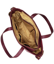 Top-down view of an open Aquila Tote Bag In Burgundy Vegan Leather