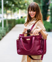white elm bags burgundy red vegan leather bag for working moms