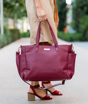 burgundy vegan leather tote bag for women for travel work and motherhood white elm bags