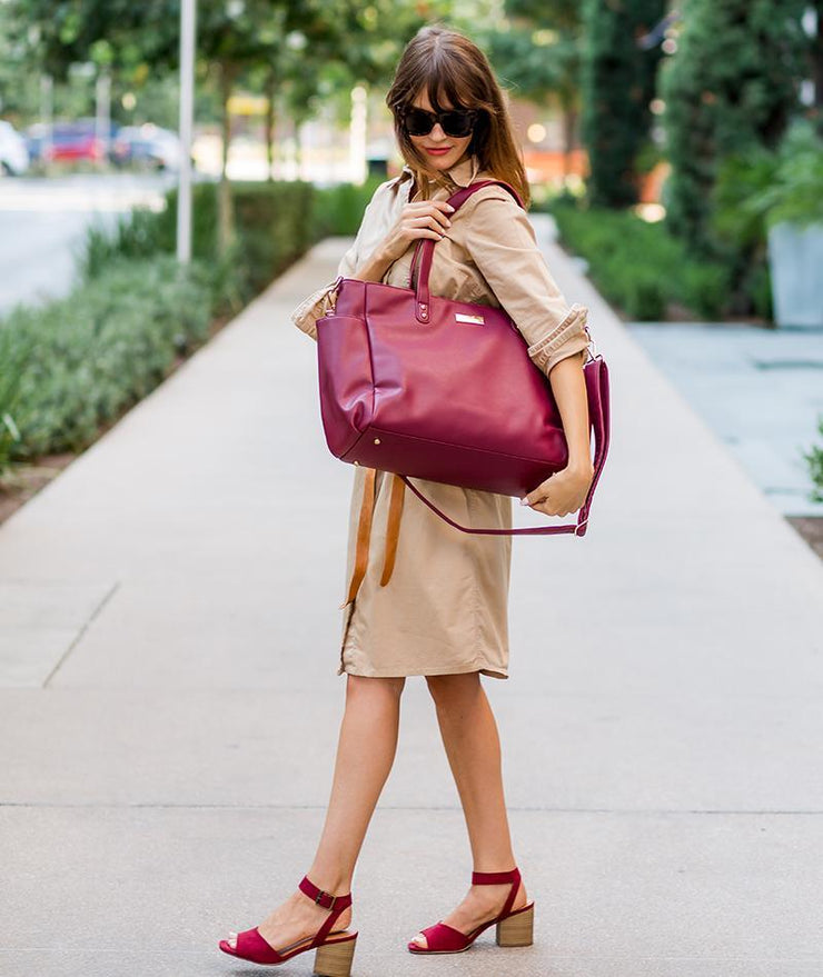 tote bag in burgundy vegan leather for working moms