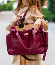 burgundy vegan leather tote bag by white elm lifestyle bag