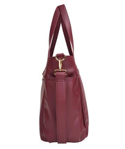 side view of Aquila Tote Bag In Burgundy Vegan Leather