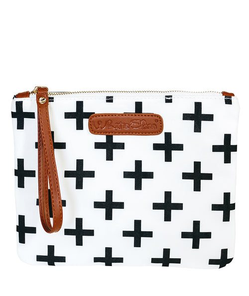 Crosses Clutch - White - White Elm - canvas and vegan leather with water resistant lining clutch wristlet bag diaper clutch plus signs