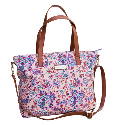 Front view of the Dahlia Floral Tote Bag