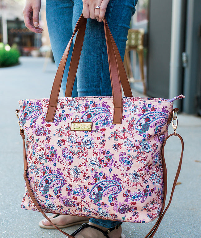 Floral Tote Bag by White Elm Dhalia Pink canvas and vegan leather purple lining paisleys flowers Use for school work or as a diaper bag