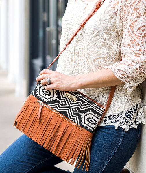 Boho City Fringe Crossbody - Aztec - White Elm Designer canvas and vegan leather and suede shoulder handbag for women modeled
