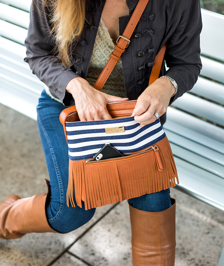 Boho City Fringe Crossbody Bag- Blue Stripes by White Elm - Designer canvas and vegan leather and suede shoulder handbag for women with front cell phone pocket