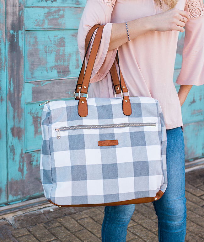 white elm gingham gray evelyn tote satchel bag canvas vegan leather pockets held