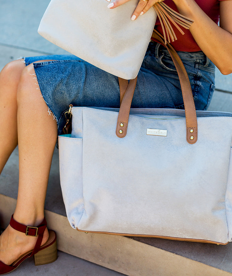 vegan suede and leather tote bag for working moms