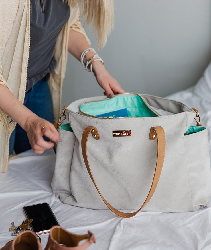 packing the white elm vegan microsuede aquila tote bag for travel
