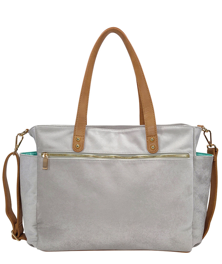 Back view of the Aquila Tote Bag In Gray Microsuede