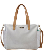 Front view of the Aquila Tote Bag In Gray Microsuede