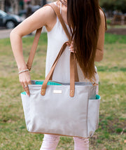 crossbody vegan tote bag for travel work and motherhood