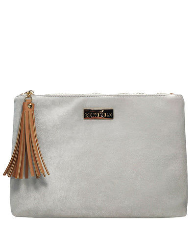 Front view of the Lyra Tablet Clutch Bag in Gray Microsuede