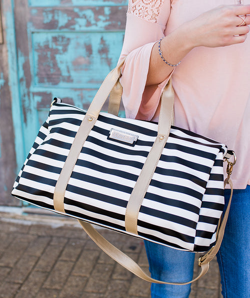white elm duffel tote bag laurel stripes striped black white gold vegan leather