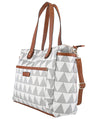 Libra Gray Triangle Tote Bag by White Elm, great for travel or as a diaper bag, wear it crossbody or over the shoulder
