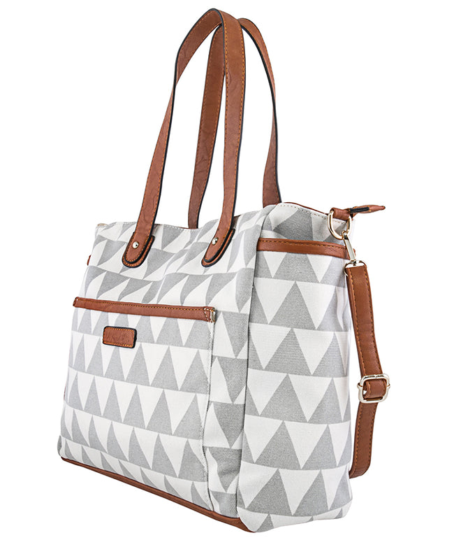 Gray Triangle Tote Bag - The Libra - White Elm grey diaper bag laptop tote bag vegan leather and canvas