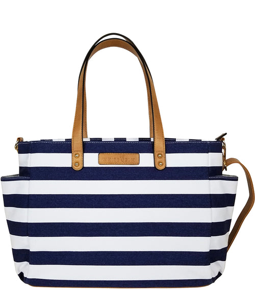 white elm navy blue stripe striped aquila diaper tote bag travel bag teacher bag canvas and vegan leather laptop bag water resistant lining 7 pockets crossbody strap