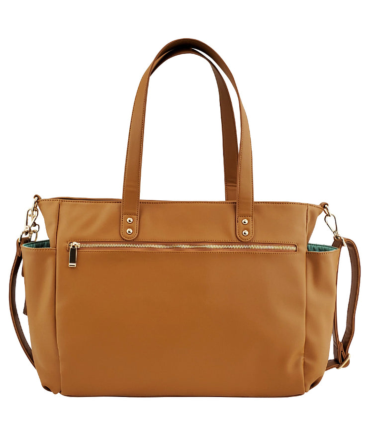 Aquila Tote Bag - Amber Brown Vegan Leather