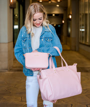 white elm aquila pink vegan leather tote with ara clutch bag