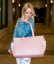 white elm aquila pink vegan leather tote working mom laptop bag