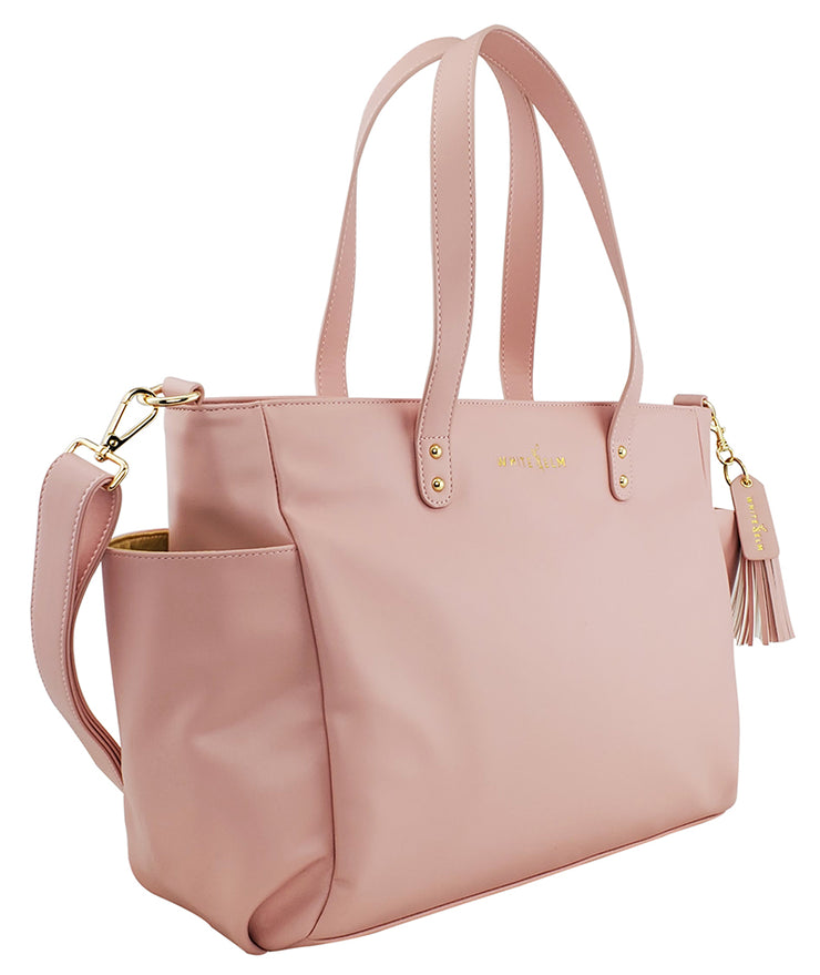 white elm aquila pink vegan leather tote side pocket view