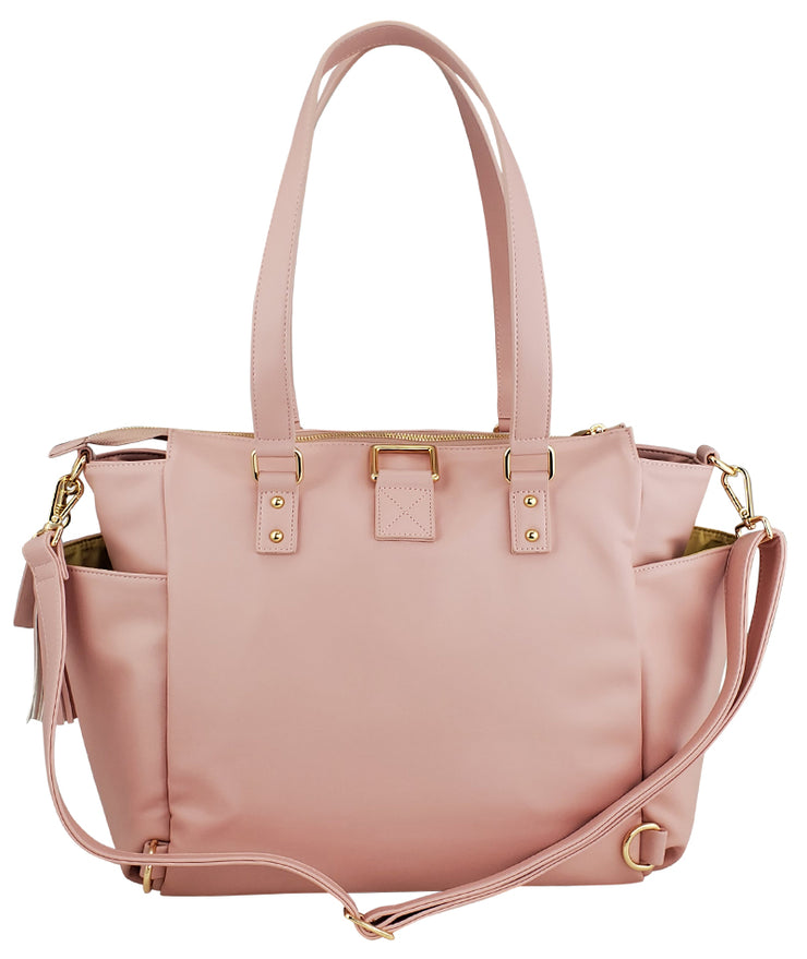 Gemini convertible backpack in pink vegan leather by white elm back view with long strap