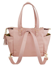 Gemini convertible backpack in pink vegan leather by white elm back view